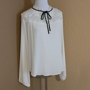 Express Crochet Lace Work Dressy Top with Bow